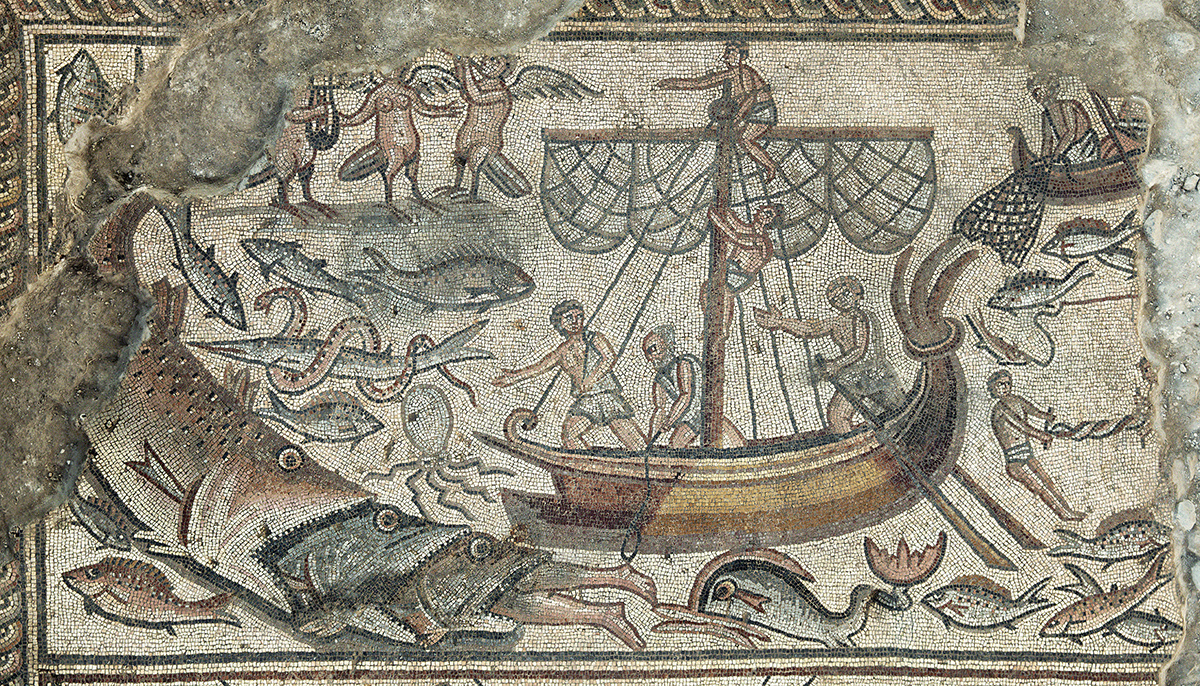 Mosaic depicting Jonah being swallowed by a fish, Huqoq synagogu