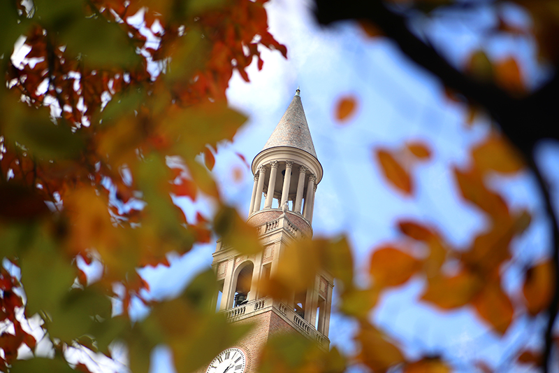 The Bell Tower seen through colorful leaves.